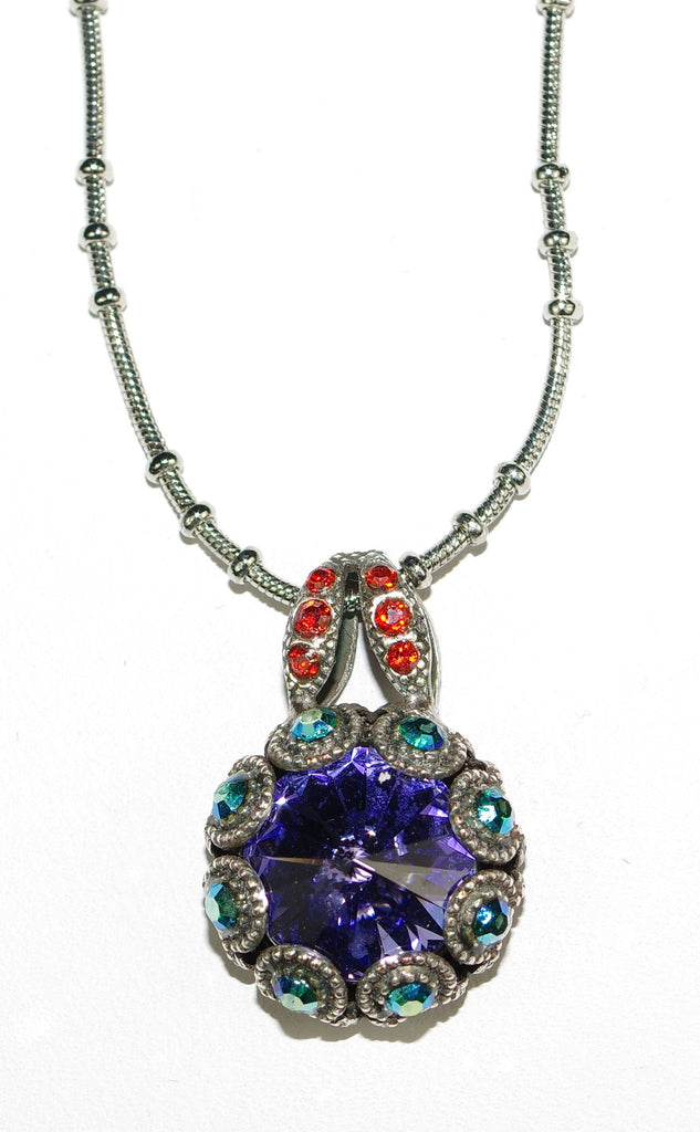 "MARIANA PENDANT IMAGINE: purple, bue, red stones in silver setting, 18"" adjustable chain"