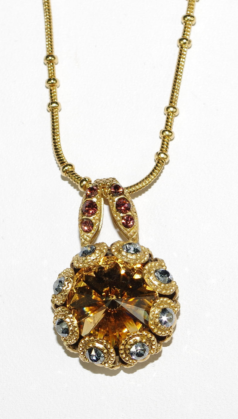 "MARIANA PENDANT KATE: amber, blue, brown stones in yellow gold setting, 18"" adjustable chain"