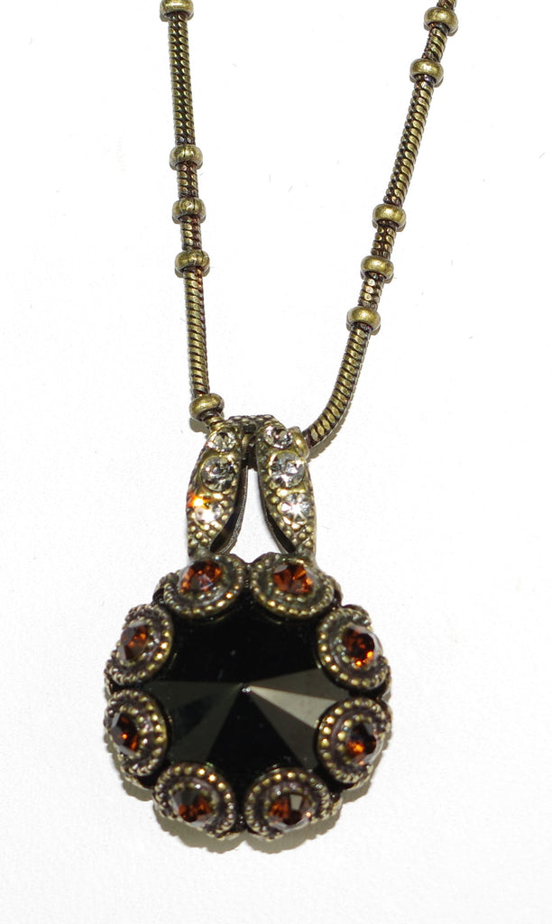 "MARIANA PENDANT: bronze, amber stones in antique gold setting, 18"" adjustable chain"