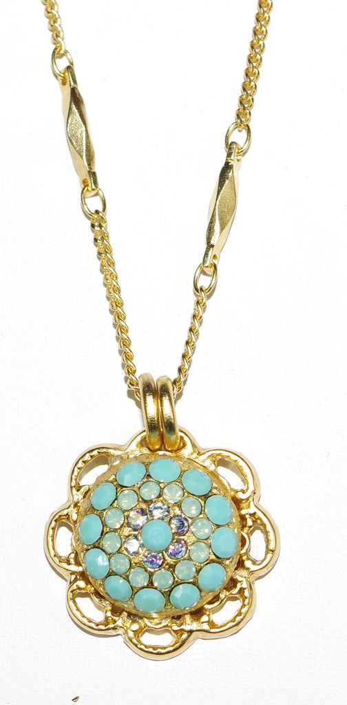 "MARIANA PENDANT CINDY: turq, blue stones in yellow gold setting, 20"" adjustable chain"