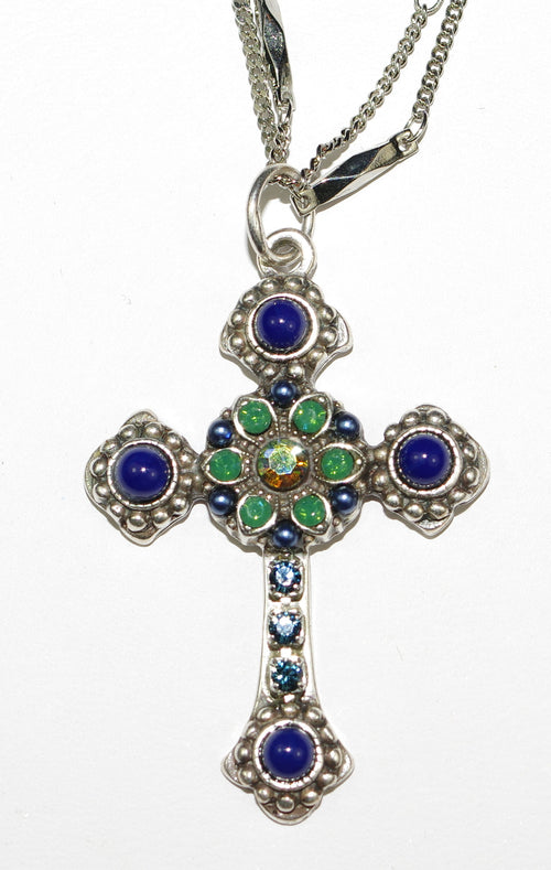 "MARIANA CROSS PENDANT EMERALD CITY: navy, green stones in silver setting, 18"" double chain"