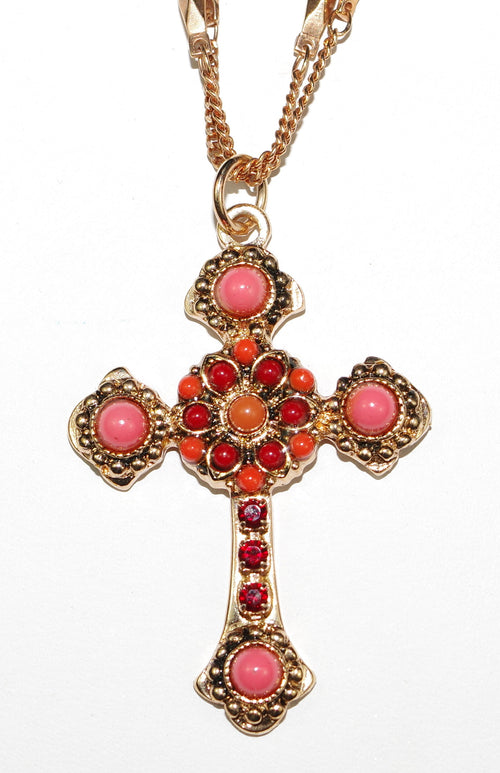 "MARIANA CROSS PENDANT FLAME: red, orange stones in rose gold setting, 18"" double chain"