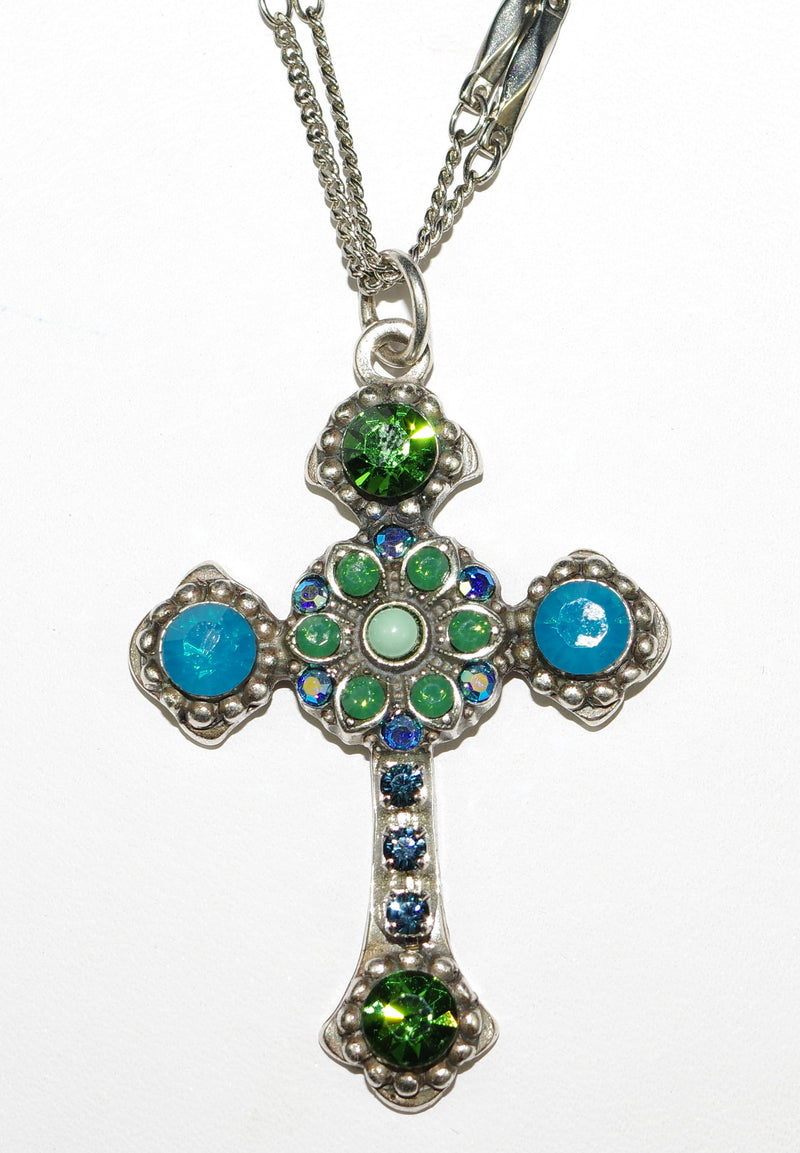"MARIANA CROSS PENDANT MEDITERREAN BLUE: green, blue stones in silver setting, 18"" double chain"