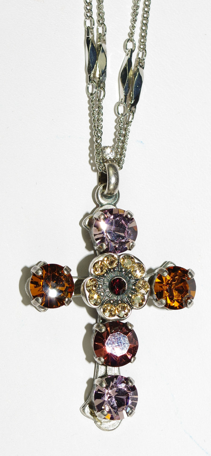 "MARIANA CROSS PENDANT DREAM: amber, lavender, topaz stones in silver setting, 20"" adjustable chain"