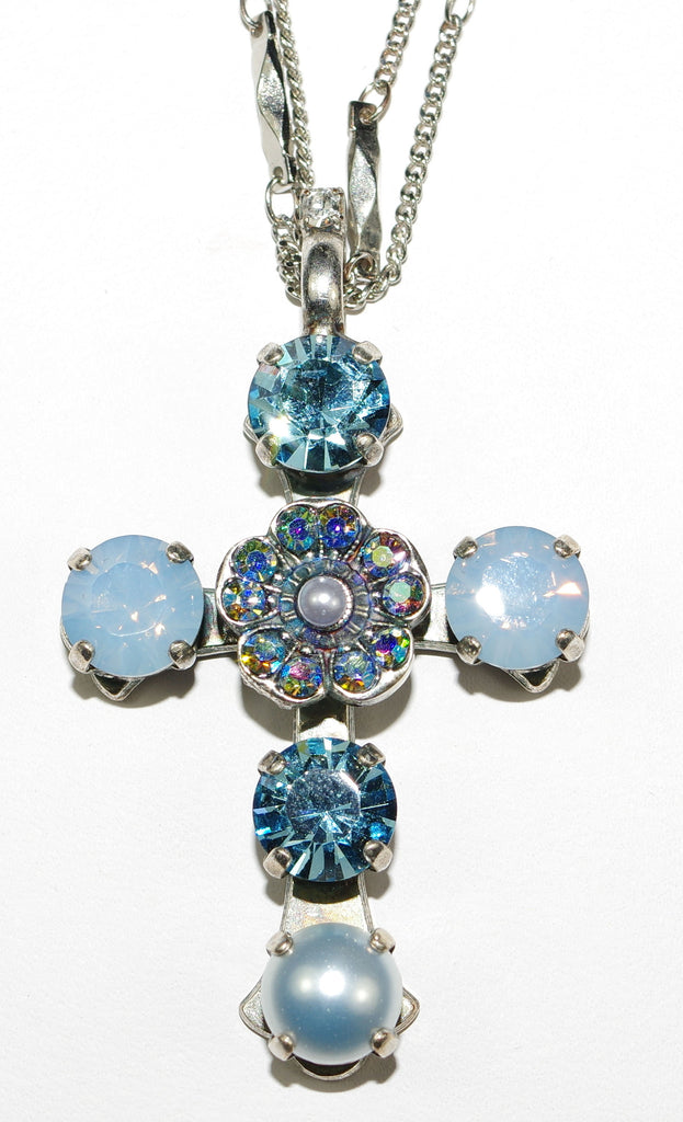 "MARIANA CROSS PENDANT PERIWINKLE: blue, pearl, a/b stones in silver setting, 18"" double chain"