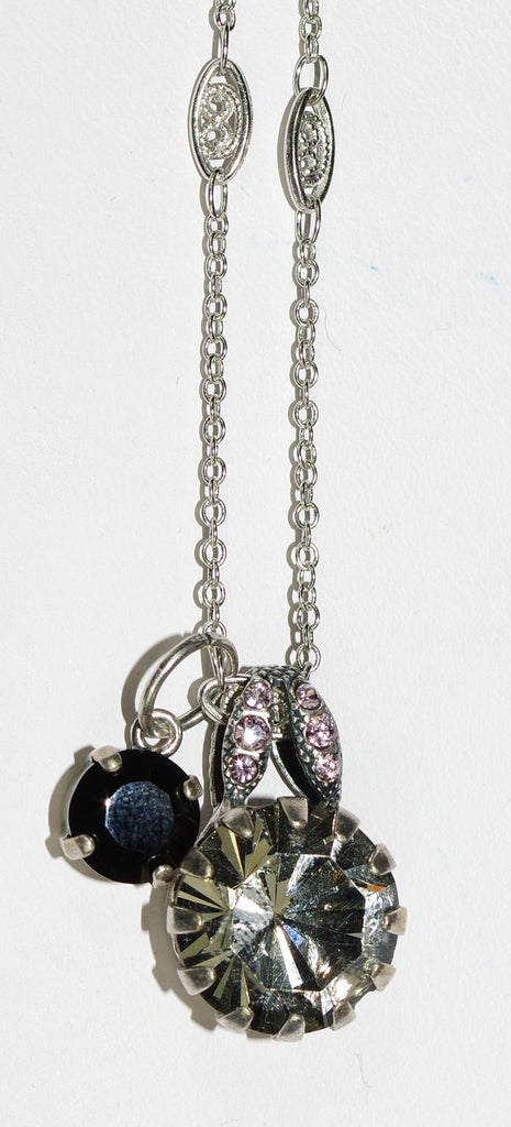 "MARIANA PENDANT DISCOVER: taupe, black, pink stones in silver setting, center pendant = 3/4"", 20"" adjustable chain"