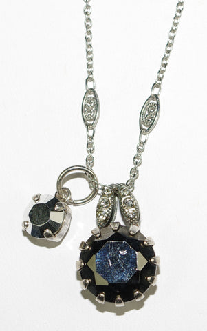 "MARIANA PENDANT BLACK DIAMOND: black, silver stones in silver setting, center pendant = 3/4"", 20"" adjustable chain"