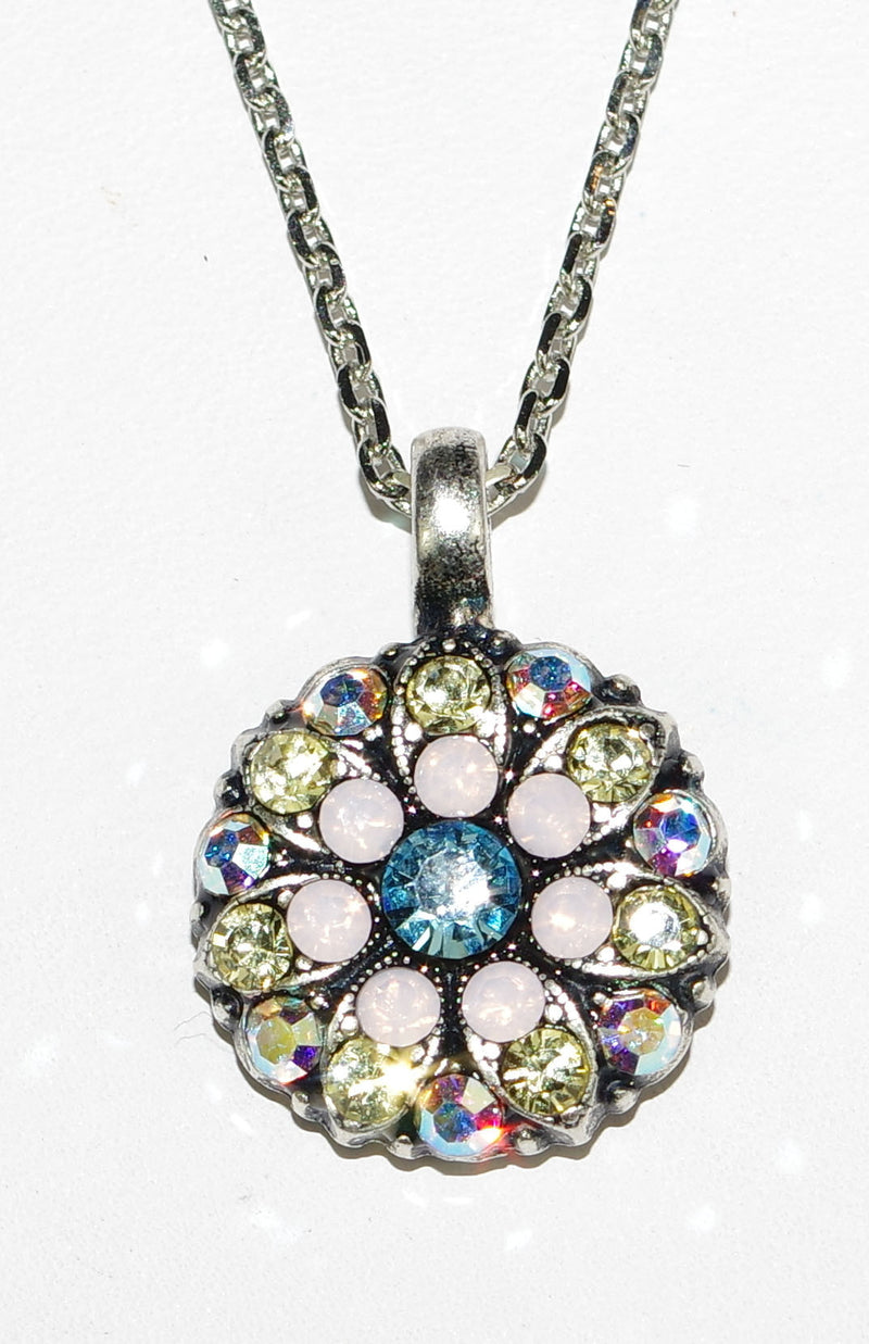 "MARIANA ANGEL PENDANT COCO: blue, pink, a/b stones in silver setting, 18"" adjustable chain"