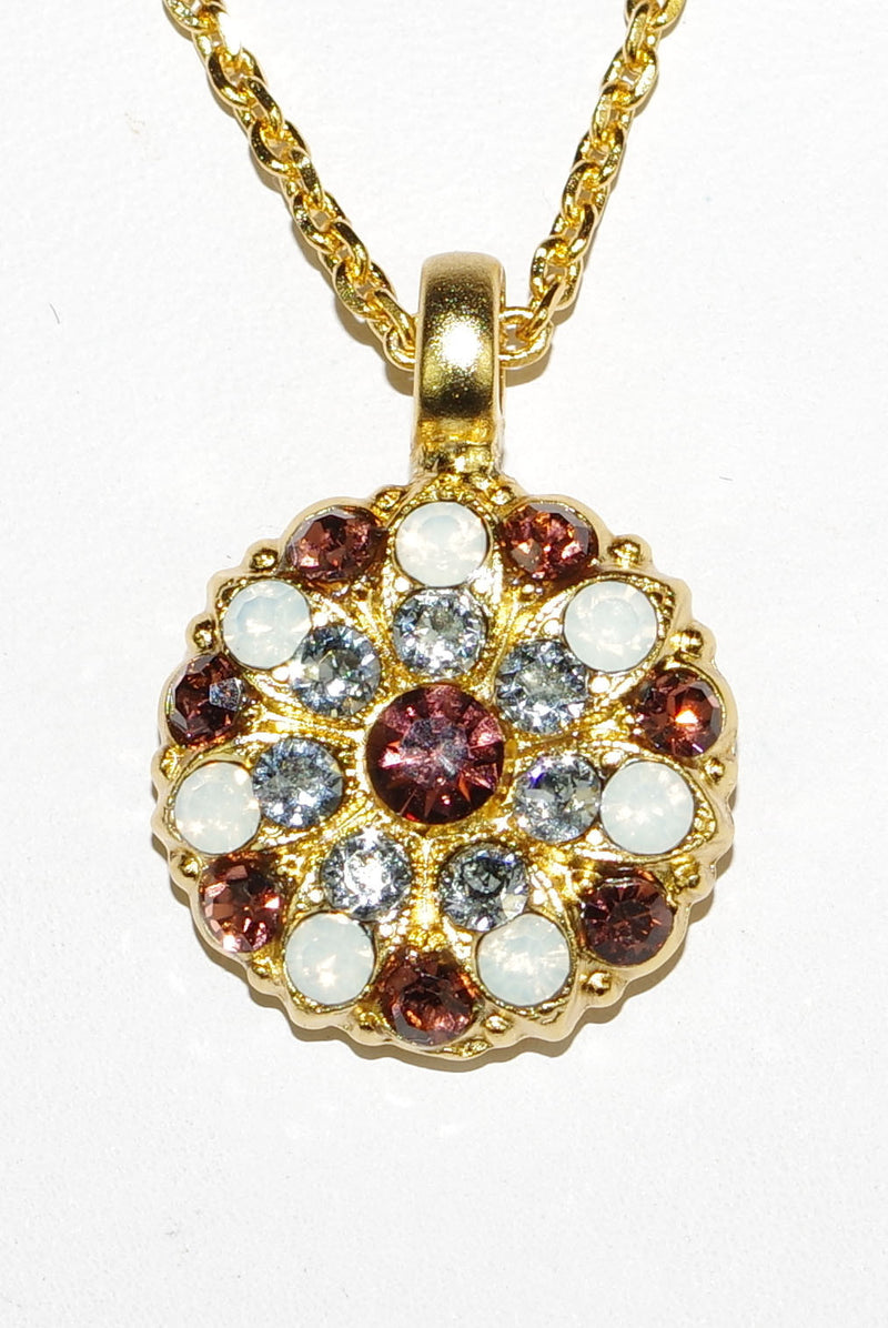 "MARIANA ANGEL PENDANT KATE: brown, white, blue stones in yellow gold setting, 18"" adjustable chain"
