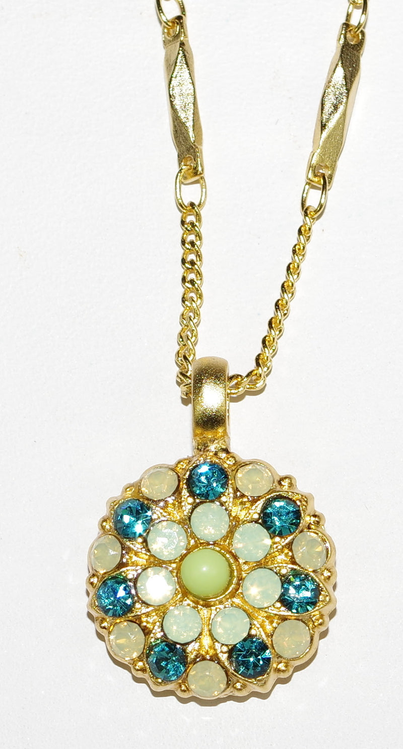 "MARIANA ANGEL PENDANT GRACE: green, pacific opal, teal stones in yellow gold setting, 18"" adjustable chain"