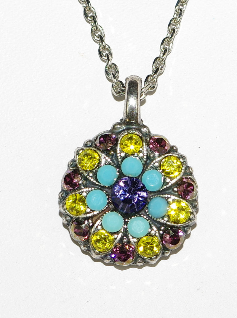 "MARIANA ANGEL PENDANT HAPPINESS: yellow, purple, lavender, turq stones in silver setting, 18"" adjustable chain"