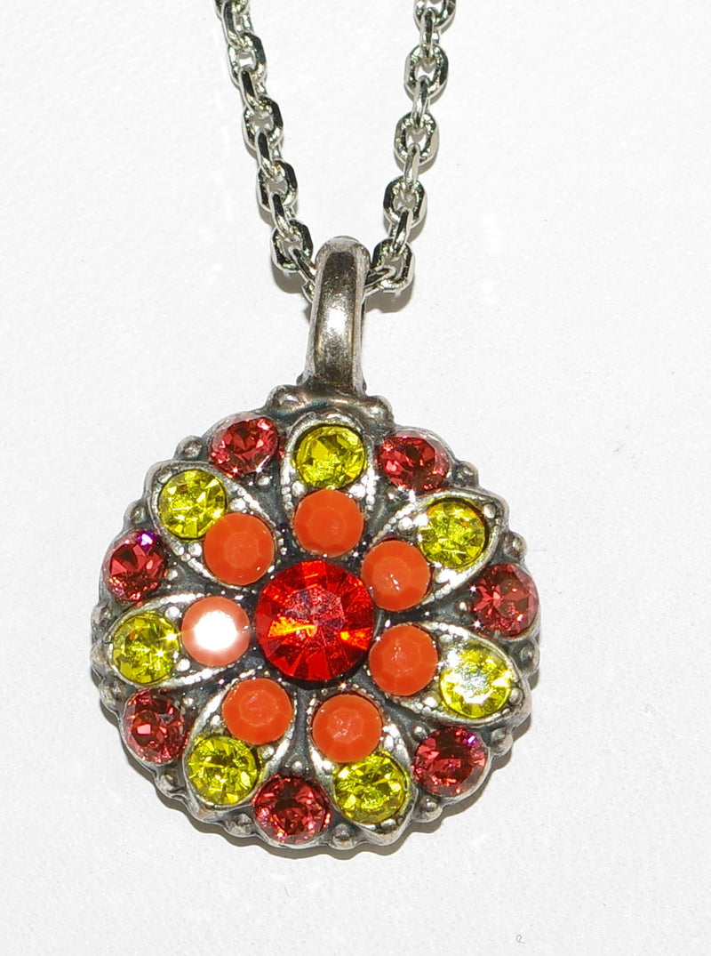 "MARIANA ANGEL PENDANT STRENGTH: orange, yellow stones in silver setting, 18"" adjustable chain"