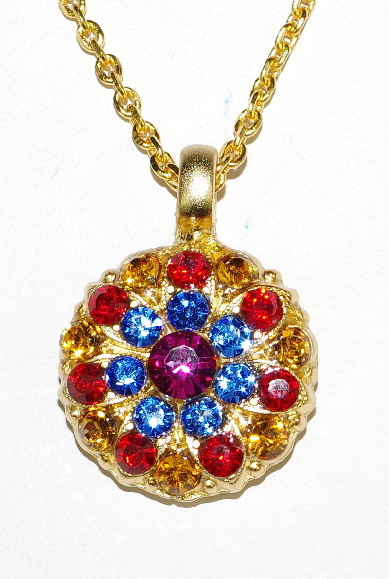"MARIANA ANGEL PENDANT FANTASY: red, blue, amber, fucshia stones in yellow gold setting, 18"" adjustable chain"