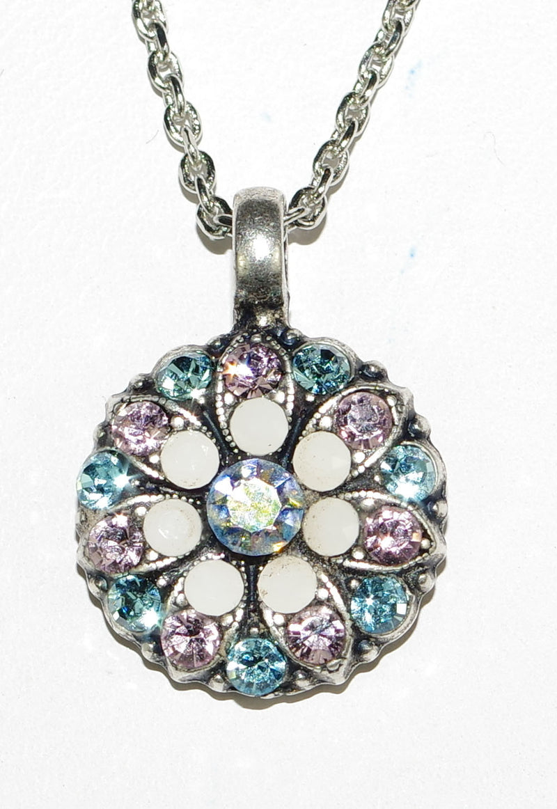 "MARIANA ANGEL PENDANT: pink, blue stones in silver setting, 18"" adjustable chain"