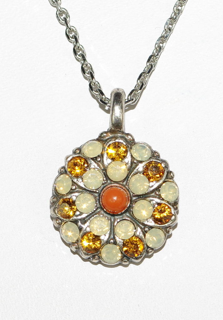 "MARIANA ANGEL PENDANT: yellow, topaz, white, orange stones in silver setting, 18"" adjustable chain"