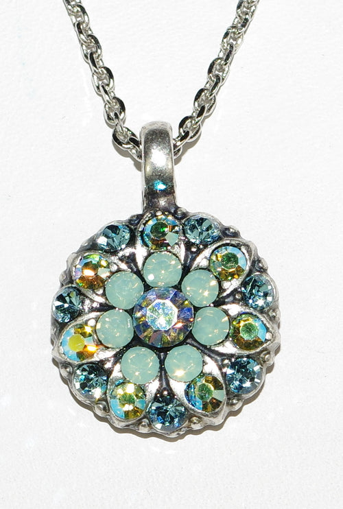 "MARIANA ANGEL PENDANT AQUAMARINE: blue, pacific opal, a/b stones in silver setting, 18"" adjustable chain"