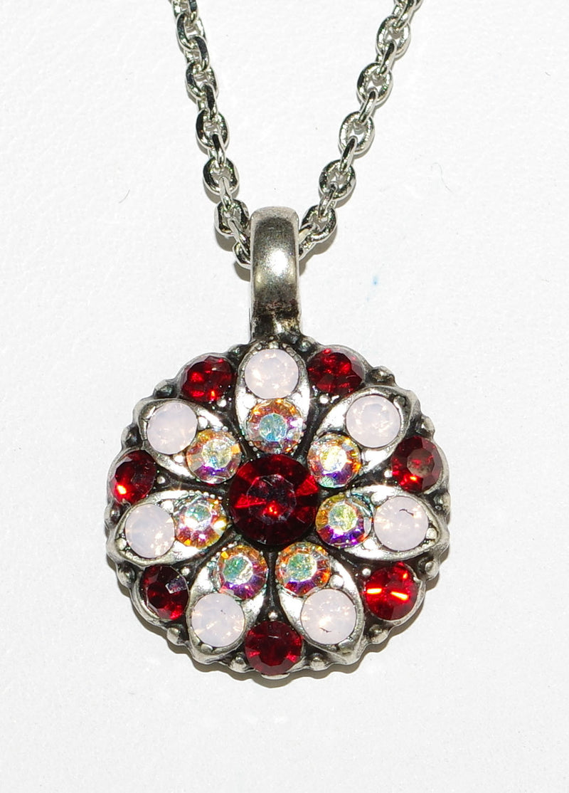 "MARIANA ANGEL PENDANT TRUE ROMANCE: red, pink, a/b stones in silver setting, 18"" adjustable chain"