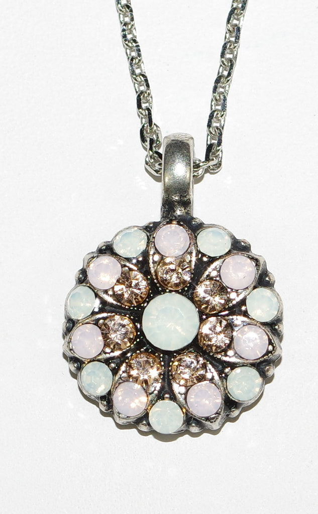 "MARIANA ANGEL PENDANT PACIFIC OPAL: pacific opal, white, amber stones in silver setting, 18"" adjustable chain"