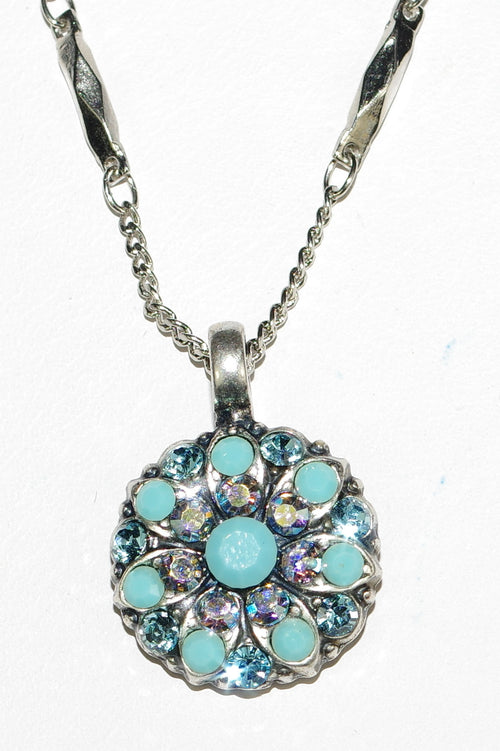 "MARIANA ANGEL PENDANT BLISS: blue, turq, a/b stones in silver setting, 18"" adjustable chain"
