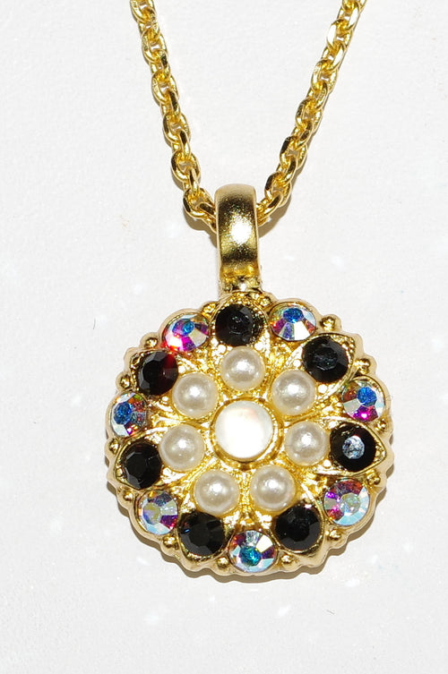 "MARIANA ANGEL PENDANT BLACK/PEARL:  black, pearl, a/b stones in yellow gold setting, 18"" adjustable chain"