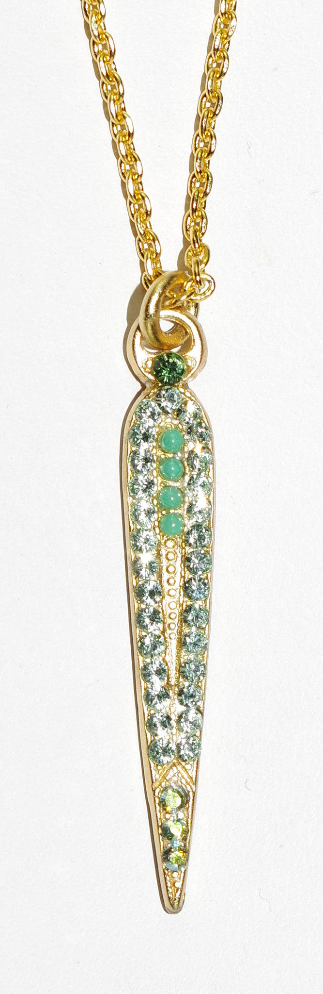 "MARIANA PENDANT OASIS:  green stones in yellow gold setting, 1.25"" pendant, 18"" adjustable chain"