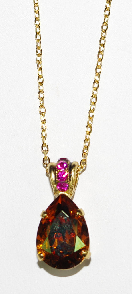"MARIANA PENDANT DAPHNE: fucshia, topaz stone in yellow gold setting, 18"" adjustable chain"