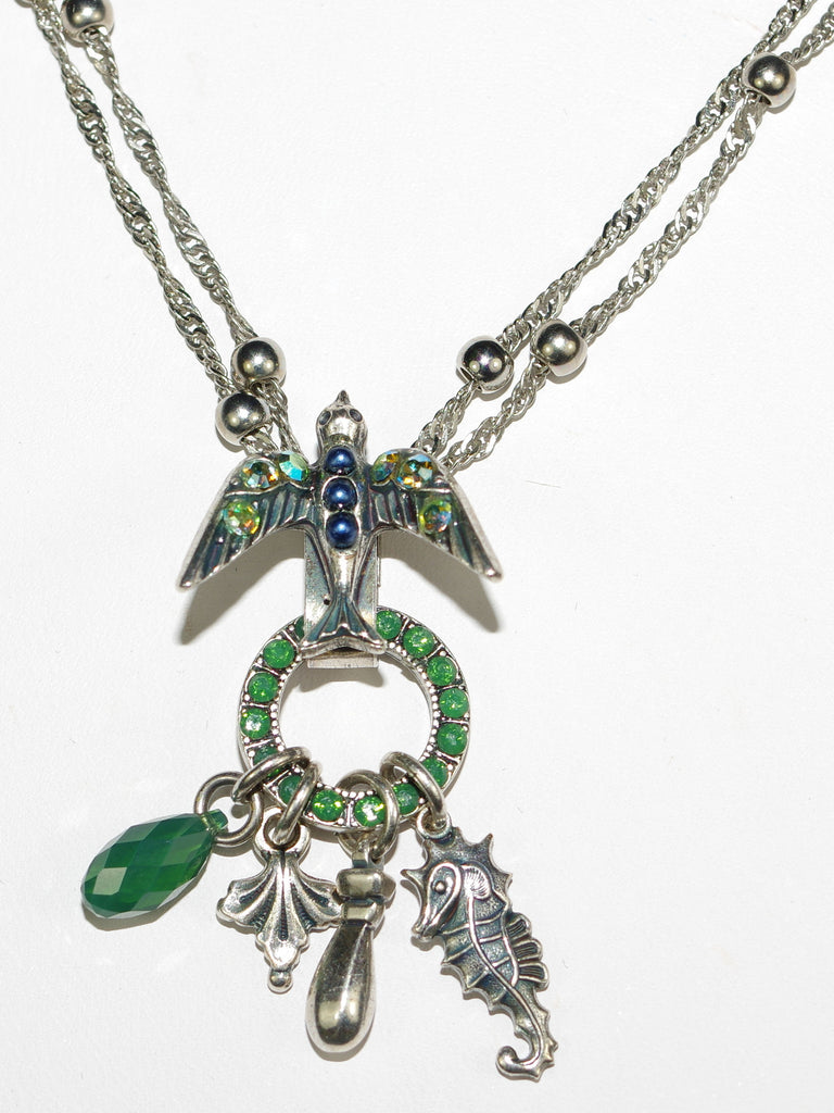 "MARIANA PENDANT EMERALD CITY: green, blue, a/b stones in silver setting, 20"" adjustable chain"