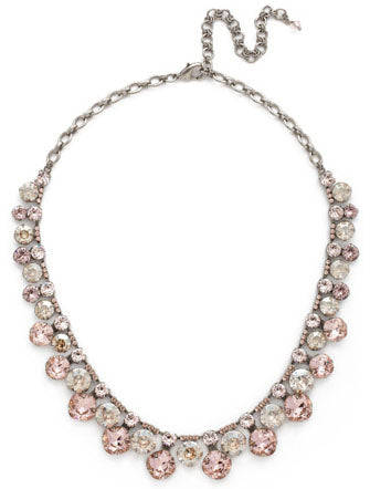 SORRELLI NECKLACE STATEMENT COLLAR: round and cushion cut crystals in bright gold setting