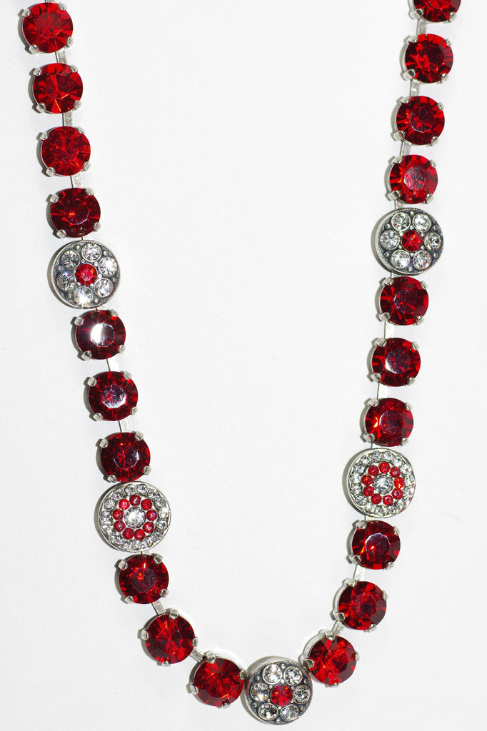 MARIANA NECKLACE: RED/CLEAR bright red/clear stones in silver setting