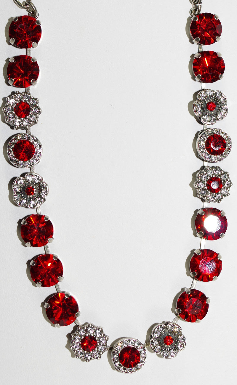 "MARIANA NECKLACE RED/CLEAR SOPHIA: bright red & clear stones in silver setting, 17"" adjustable chain"