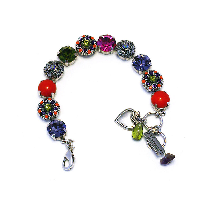 Mariana Bracelet: red, green, fuchsia, purple stones in silver setting