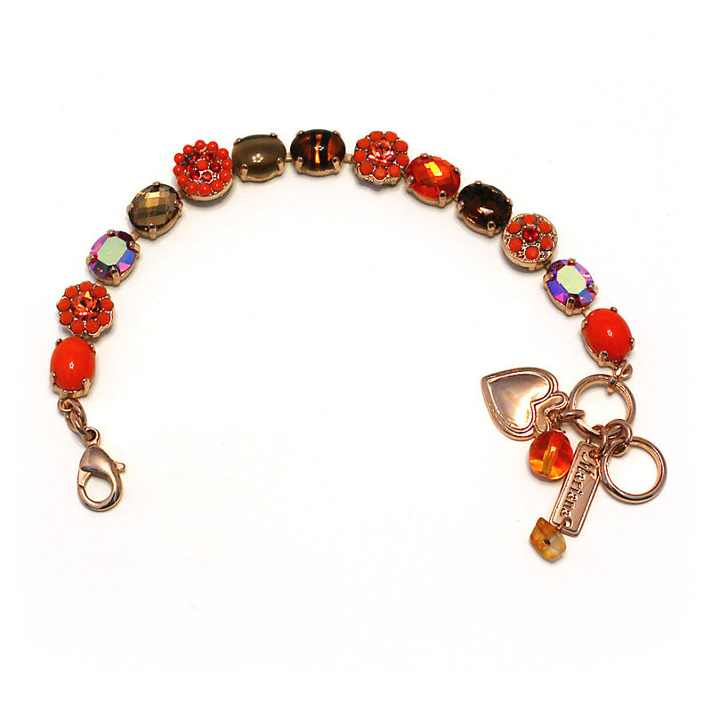 Mariana Bracelet: red, orange, brown tiger eye, brown stones in rose gold setting