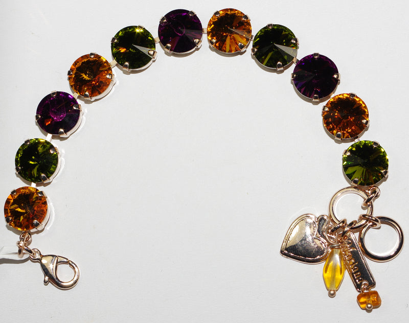 MARIANA  BRACELET HOLIDAY LIGHTS: purple, yellow, green stones in rosegold setting