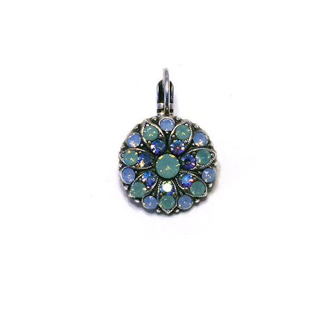 Mariana Angel Earring AQUAMARINE : teal center, teal, blue and a/b stones in silver setting
