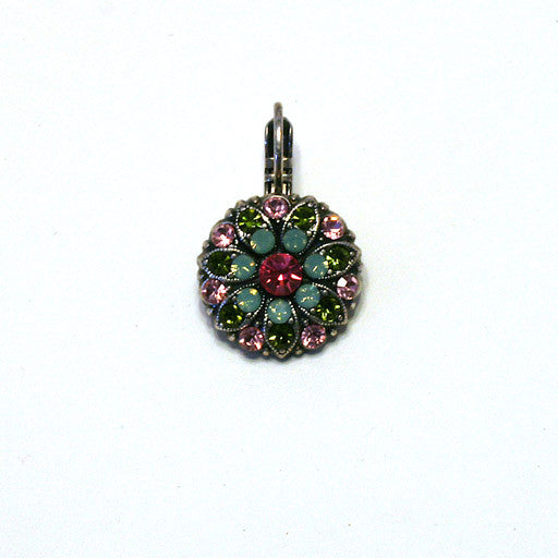 Mariana Angel Earrings: dark pink center, teal, green and pink stones in silver setting