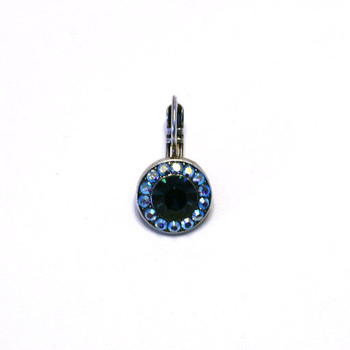 Mariana Center Stone Earrings: dark blue center stone, blue a/b stones in silver setting