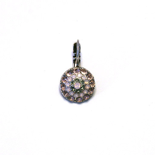 Mariana Round Earrings: light pink center stone, light/medium and hemitite stones in silver setting