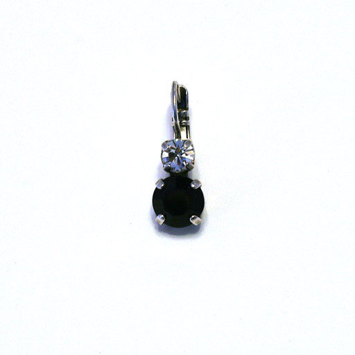 Mariana Small 2-stone Earrings: large solid black stone, small clear stone in silver setting