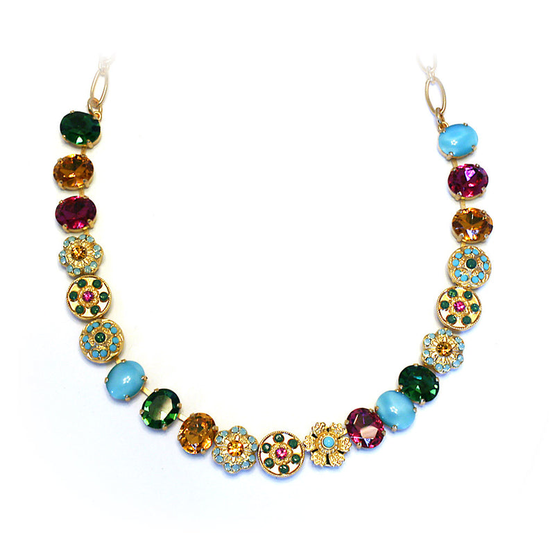 Mariana Necklace:  fuchsia, green, amber, turquoise stones in yellow gold setting