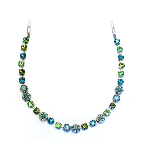 Mariana Necklace: green, teal, olive stones in silver setting