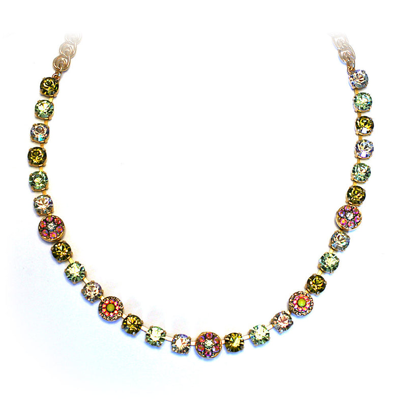Mariana Necklace: light/medium yellow, solid yellow, a/b stones in yellow gold setting
