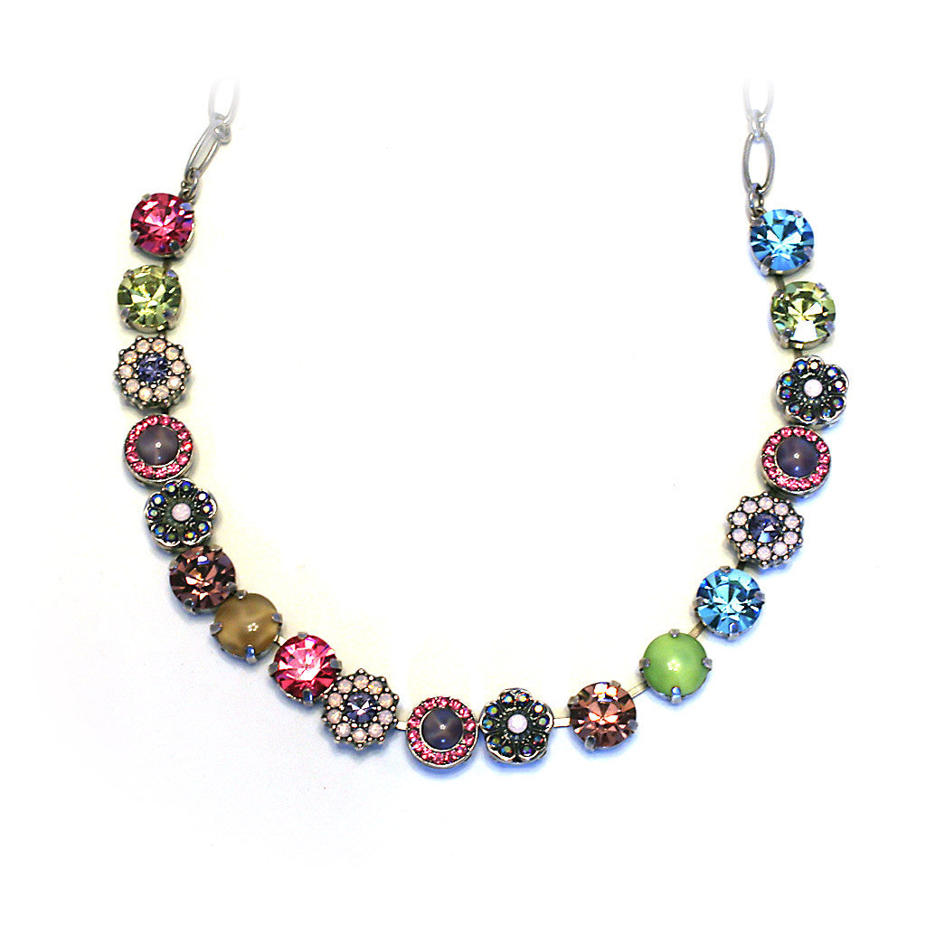 Mariana Necklace: topaz, fuchsia, treen, lavender, a/b stones in silver setting