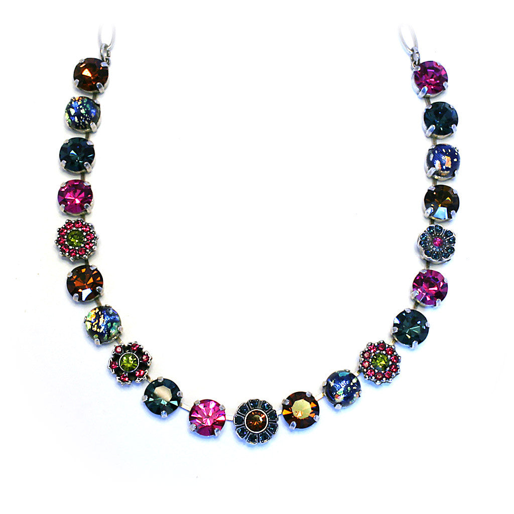 Mariana Necklace: fuchsia, amber, green, blue marble silver setting