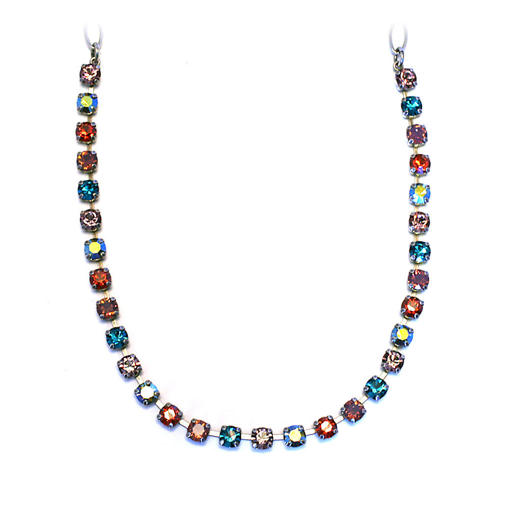 Mariana Necklace: teal, pink, orange, a/b stones in silver setting