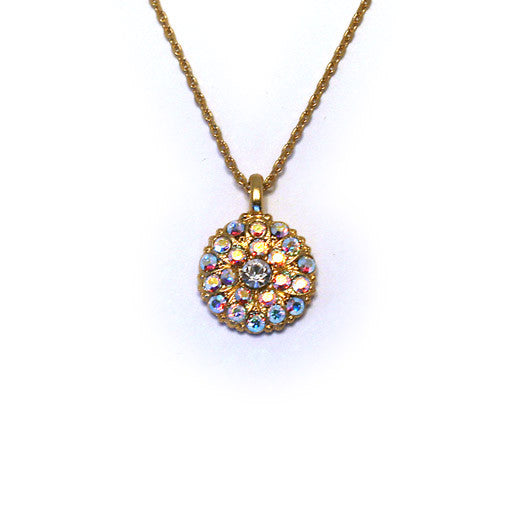 Mariana Angel Pendant: clear center, a/b stones in yellow gold setting