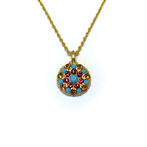 Mariana Angel Pendant: solid turquoise center, fuchsia, turquoise and amber stones in yellow gold setting