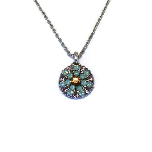 Mariana Angel Pendant: amber center, teal and lavender stones in silver setting
