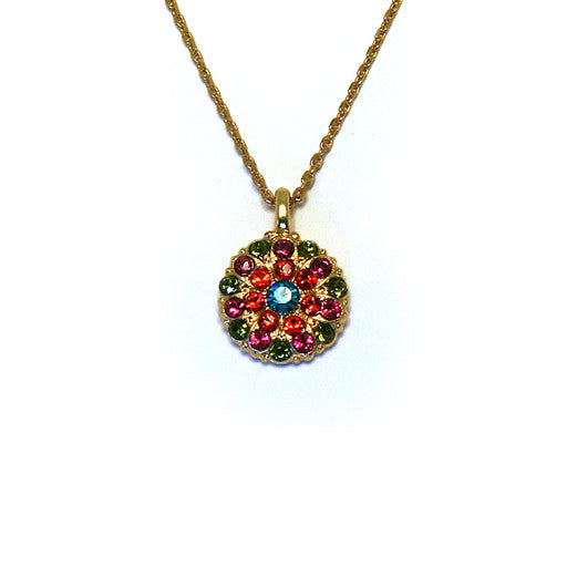 Mariana Angel Pendant: bright blue center, fuchsia, green and red stones in yellow gold setting