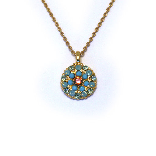 Mariana Angel Pendant: amber center, turquoise and teal stones in yellow gold setting