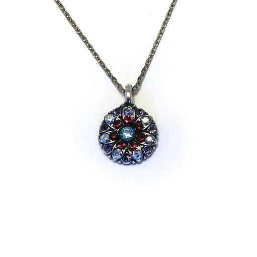 Mariana Angel Pendant: blue center, dark purple and a/b stones in silver setting